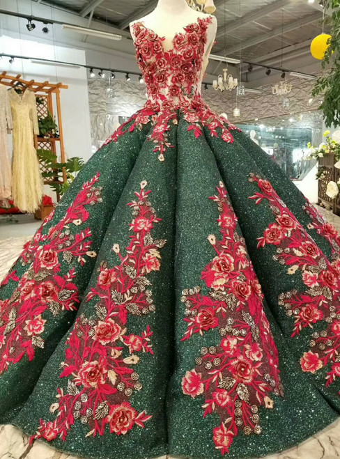 Green Ball Gown Sequins Deep V-neck Backless Red Appliques Wedding Dress