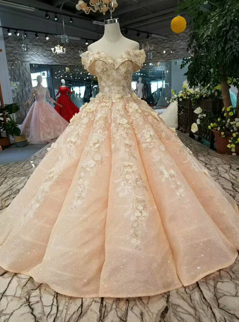 Pink Ball Gown Sequins Off The Shoulder Appliques Wedding Dress