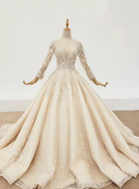 Champagne Ball Gown Tulle Sequins Long Sleeve Beading Wedding Dress