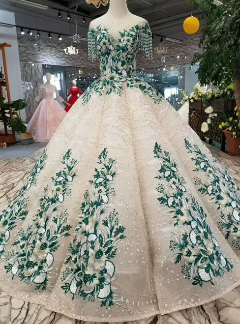 Champagne Sequins Green Embroidery Appliques Cap Sleeve Wedding Dress