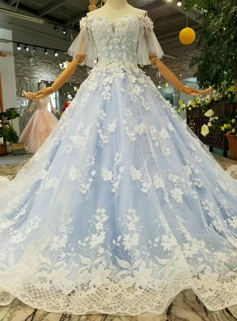 Blue Ball Gown Lace Off The Shoulder Butterfly Sleeve Wedidng Dress With Beading
