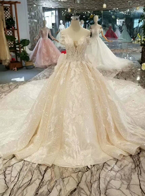 Light Champagne Sequins Off The Shoulder Appliques Wedding Dress With Long Train