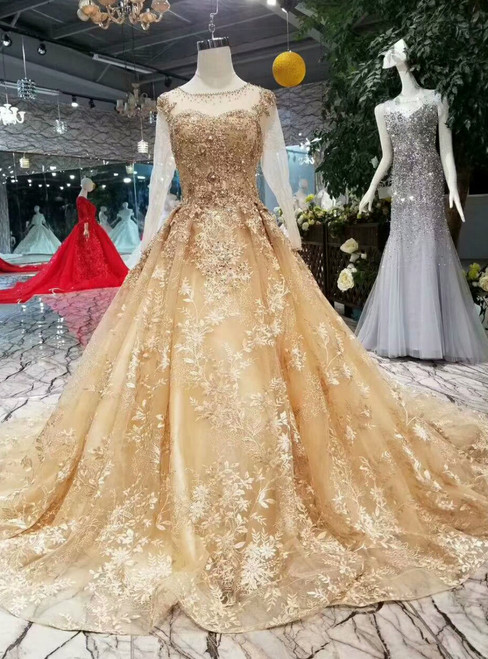 Champagne Gold Ball Gown Lace Long Sleeve Wedding Dress With Litter Train