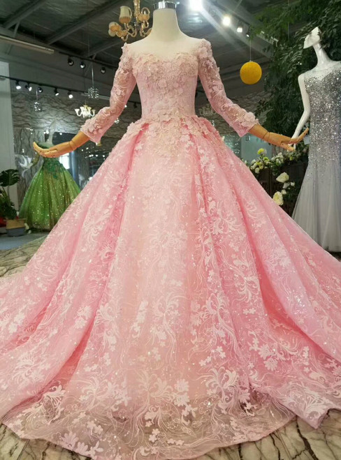Pink Lace Appliques Long Sleeve Scoop Neck Wedding Dress With Beading