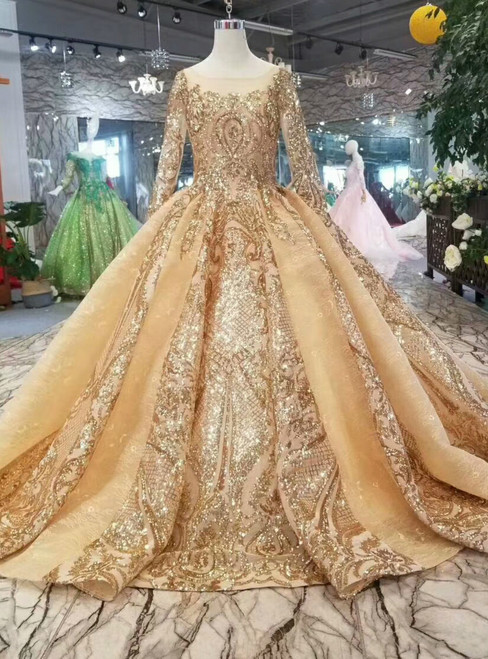 Luxury Gold Ball Gown Bateau Neck Long Sleeve Bling Bling Sequins Wedding Dress