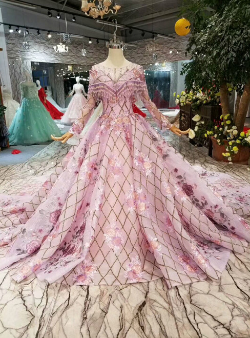 Purple Ball Gown Sequins Long Sleeve Embroidery Appliques Wedding Dress With Beading
