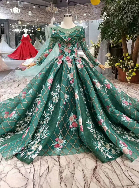Green Sequins Long Sleeve Embroidery Appliques Wedding Dress With Beading