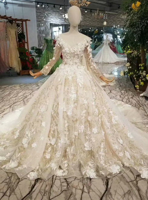 Champagne Tulle Sequins V-neck Long Sleeve Wedding Dress With Appliques