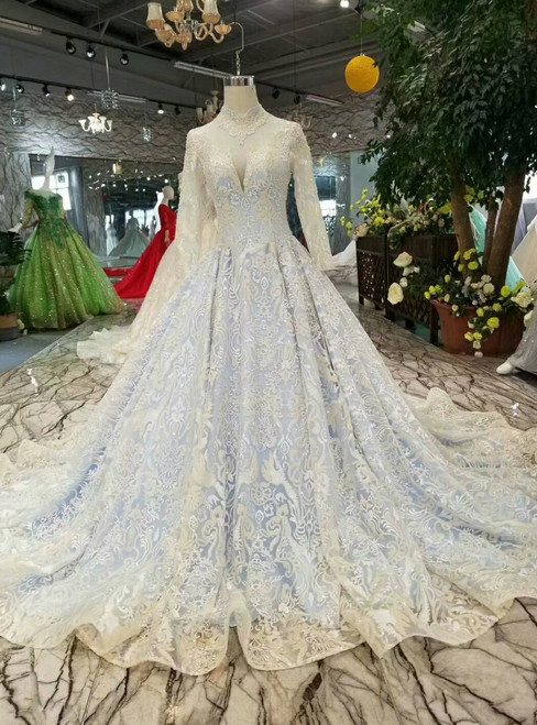 Blue Lace Sequins High Neck Long SLeeve Wedding Dress With Beading