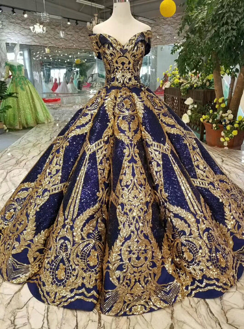 Royal Blue Sequins Gold Appliques Off The Shoulder Floor Length Wedding Dress