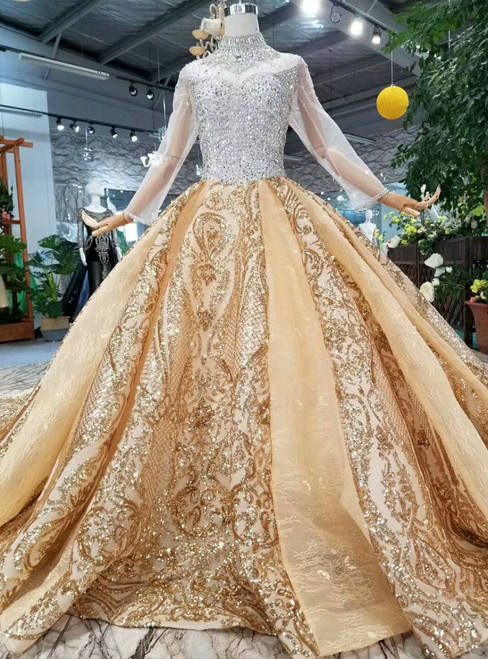 Champgne High Neck Gold Sequins Appliques Long Sleeve Wedding Dress With Crystal