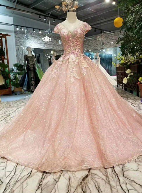 Pink Sequins Ball Gown Cap Sleeve Backless Appliques Wedding Dress