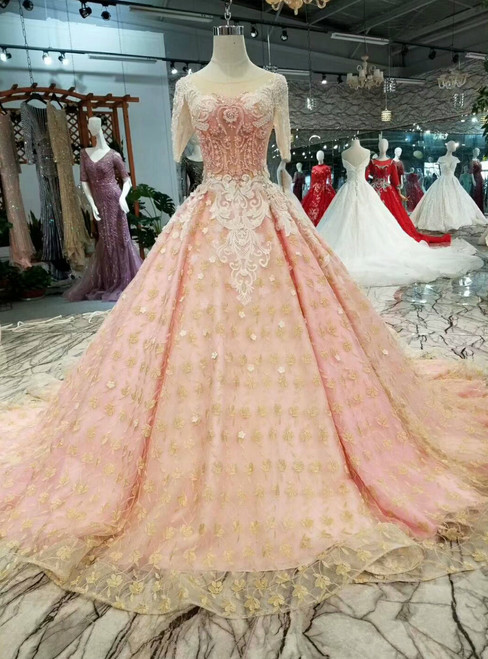 Pink Ball Gown Gold Lace Appliques Short Sleeve Backless Wedding Dress