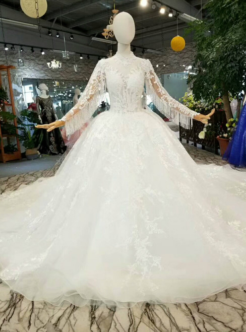 Light Champagne Ball Gown Lace High Neck Long Sleeve Backless Wedding Dress
