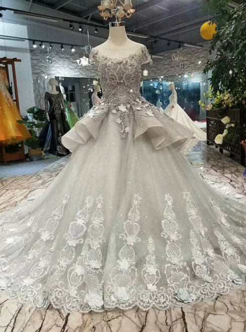 Silver Gray Tulle Lace Appliques Cap Sleeve Wedding Dress With Beading