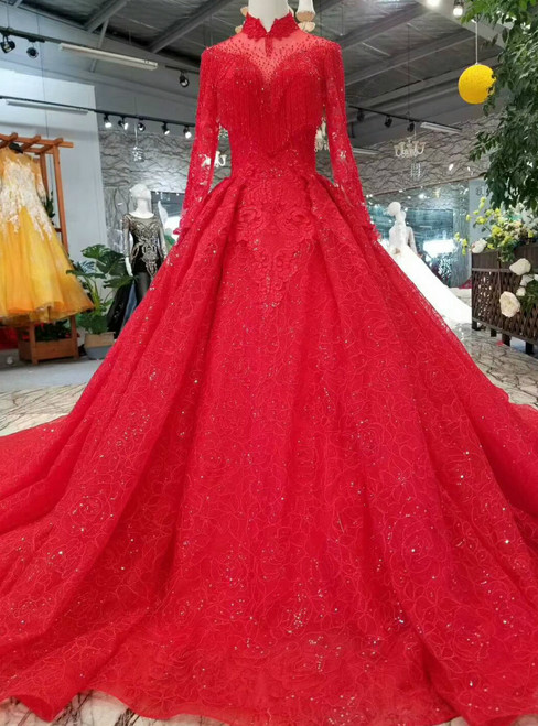 Red Ball Gown Lace High Neck Backless Long Sleeve Wedding Dress With Beading
