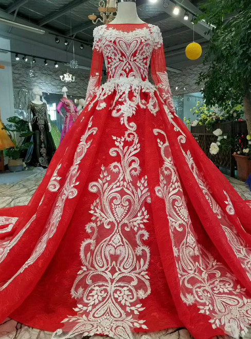 Red Ball Gown White Appliques Long Sleeve Wedding Dress With Beaidng
