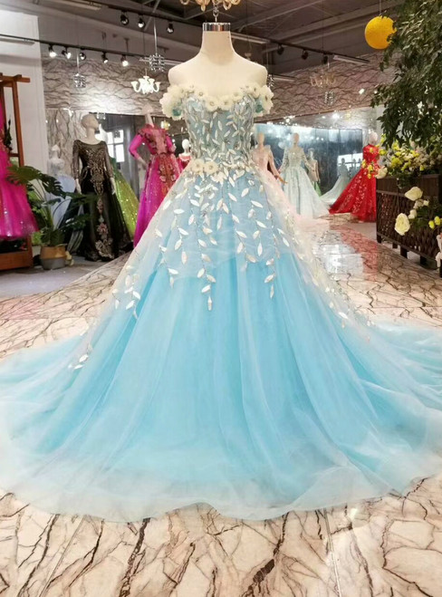 Ball Gown Blue Tulle White Appliques Off The Shoulder Wedding Dress