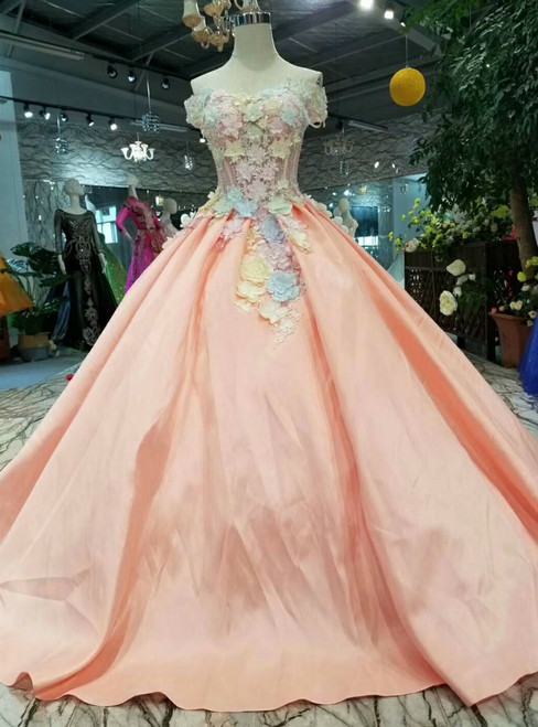 Pink Satin Ball Gown Off The Shoulder Corset Colorful Flower Wedding Dress