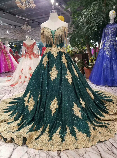 Green Sequins Gold Lace Appliques Off The Shoulder Wedding Dress With Beading