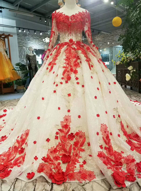 Champagne Tulle Red Flower Long Sleeve Wedding Dress With Beading