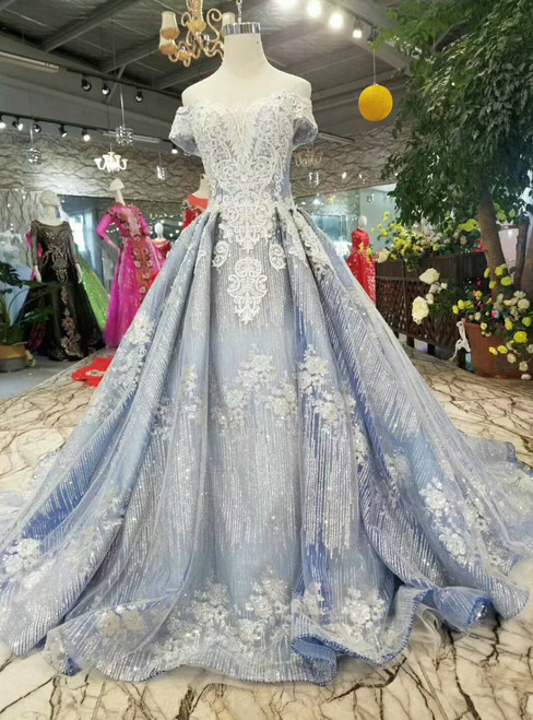 Blue Gray Ball Gown Sequins Appliques Off the Shoulder Wedding Dress