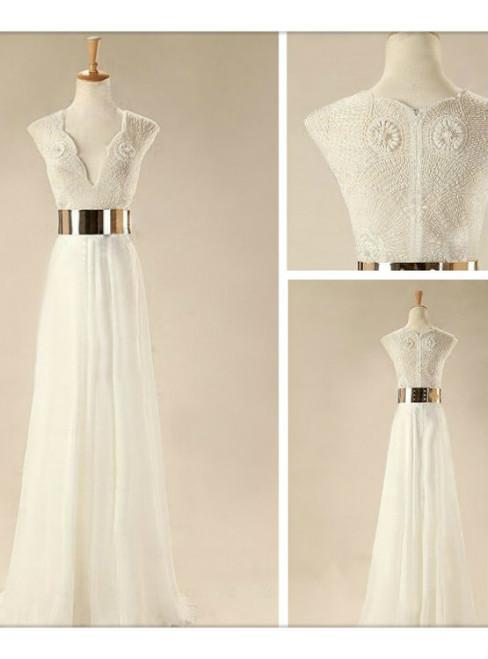 Custom Made White Floor Length Prom Dresses Wedding Dresses