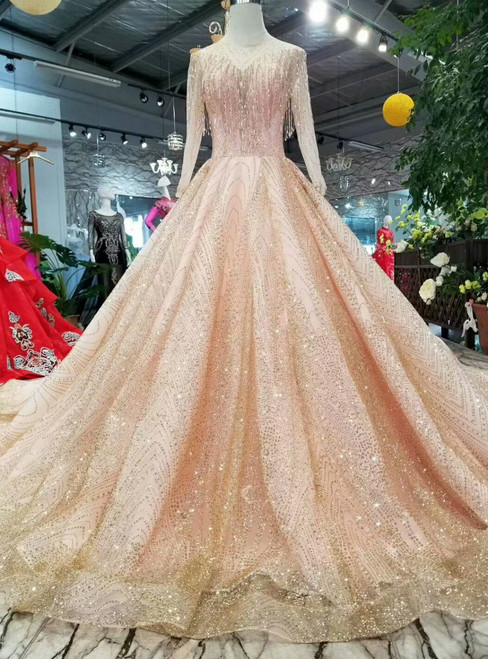 Pink Ball Gown Tulle Sequins Long Sleeve Wedding Dress With Beading
