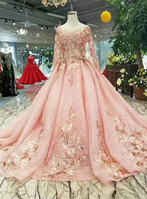 Pink Lace Appliques Sequins Long Sleeve Wedding Dress With Little Train