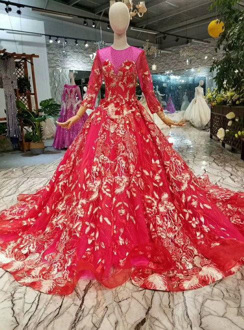 Red Tulle Appliques Long Sleeve Wedding Dress With Train