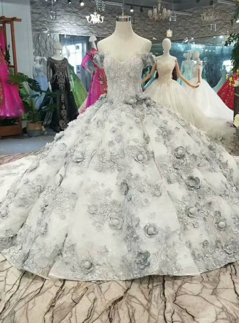 Gray Ball Gown Hand Flower Off The Shoulder Haute Couture Wedding Dress With Long Train