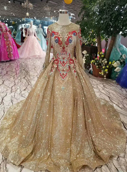Champagne Gold Sequins Embroidery Long Sleeve Wedding Dress With Beading