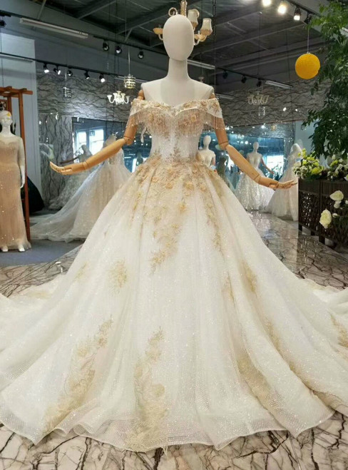 Champagne Ball Gown Tulle Sequins Off The Shoulder Beading Wedding Dress