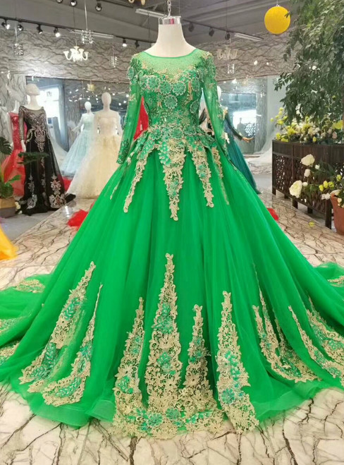 Green Ball Gown Tulle Appliques Embroidery Long Sleeve Wedding Dress