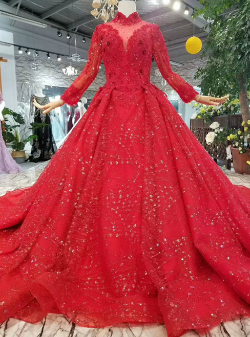 Red Ball Gown Lace Sequins High Neck Long Sleeve Beading Wedding Dress