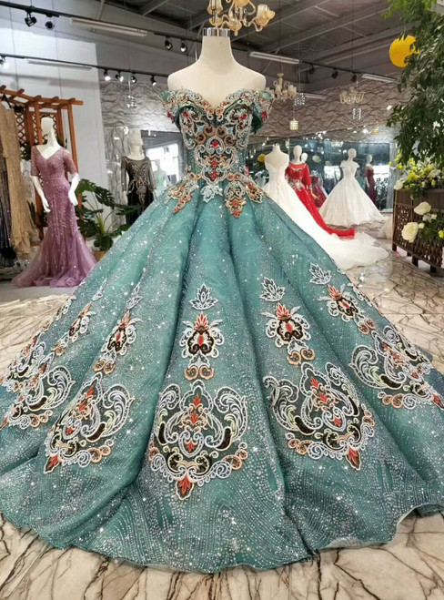 Green Ball Gown Sequins Bling Bling Off The Shoulder Beading Haute Couture Wedding Dress
