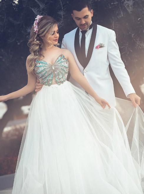 Cheap prom dresses 2017 Shiny Beading White Prom Dresses 2017
