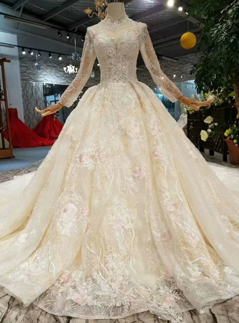 Light Champagne High Neck Long Sleeve Embroidery Appliques Wedding Dress