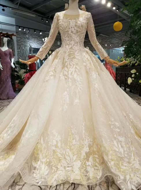 Champagne Tulle Sequins Long Sleeve Backless Appliques Wedding Dress With DetachableLong Train
