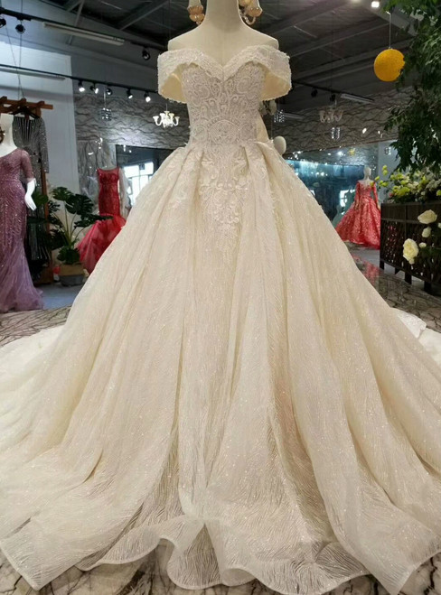 Champagne Ball Gown Tulle Sequins Off The Shoulder Wedding Dress With Train