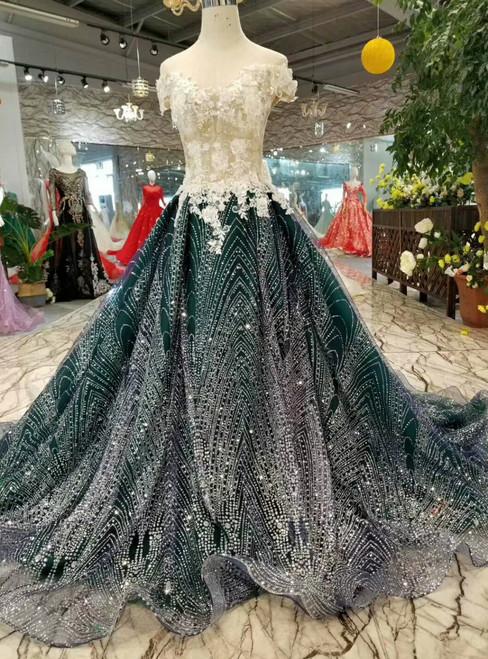 Dark Green Sequins White Appliques Off The Shoulder Wedding Dress