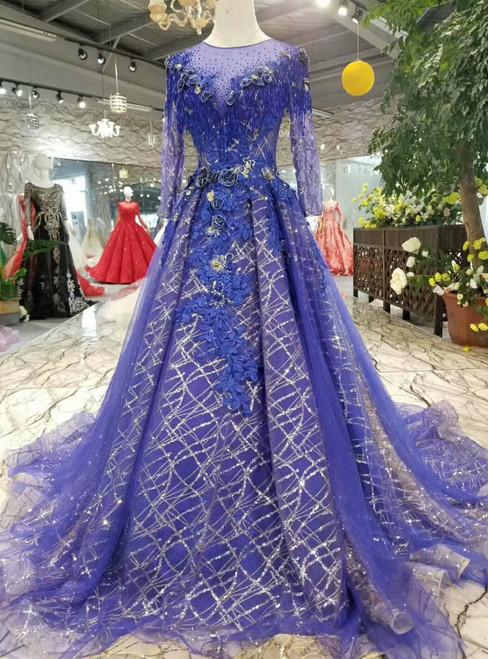 Royal Blue Sequins Bling Bling Long Seeve Appliques Beading Wedding Dress