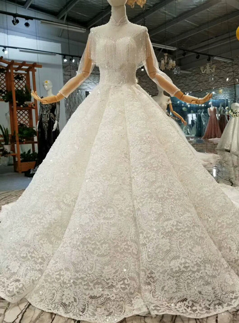 Ball Gown Lace High Neck Long Sleeve Wedding Dress With Long Train
