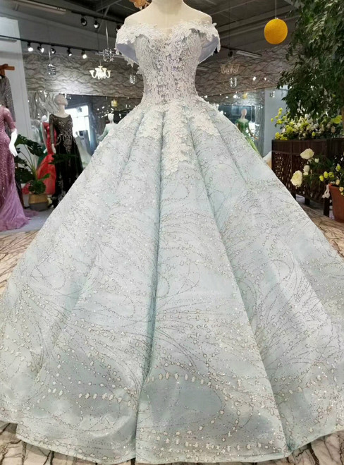Blue Ball Gown Sequins White Lace Appliques Off The Shoulder Wedding Dress