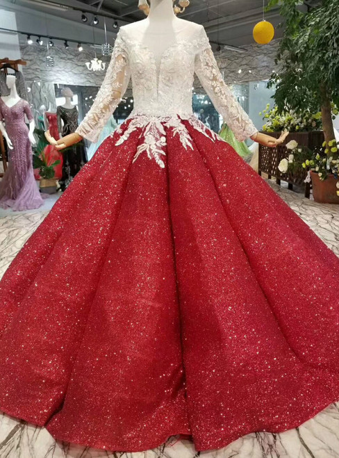 Red Ball Gown Sequins Long Sleeve Lace Appliques Wedding Dress