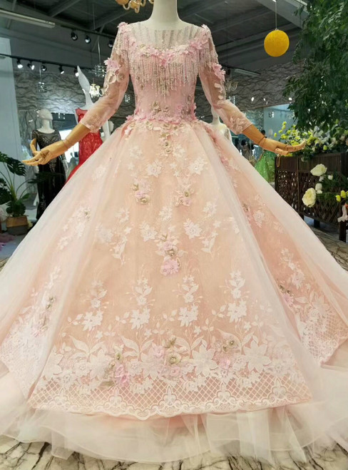 Pink Princess Ball Gown Tulle Appliques 3/4 Sleeve Wedding Dress