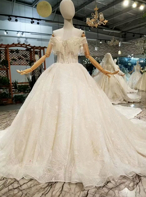 Champagne Ball Gown Sequins Appliques Off The Shoulder Wedding Dress
