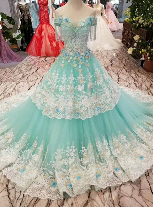 Green Ball Gown Tulle Appliques Off The Shoulder Wedding Dress With Beading