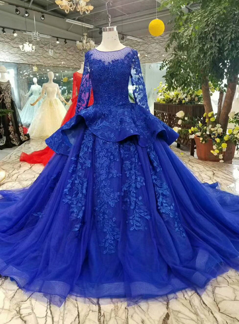Blue Ball Gown Tulle Appliques Long Sleeve Wedding Dress