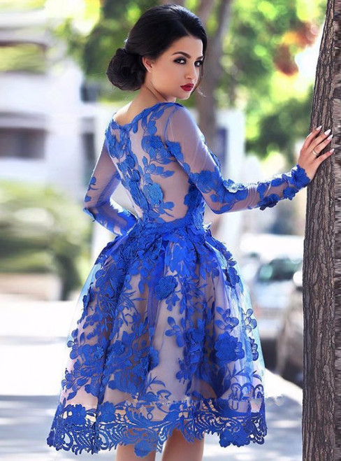 Cheap homecoming dresses 2017 Elegant Lace Appliques Dress Long Sleeves A Line